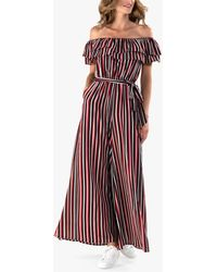 Jolie Moi Striped Bardot Wide Leg Jumpsuit - Red