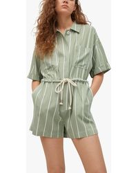 Mango - Stripe Linen Blend Belted Jumpsuit - Lyst