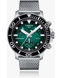 Tissot Seastar Chronograph Date Mesh Strap Watch - Metallic