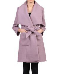 Jolie Moi Wool Blend Wrap Coat - Purple
