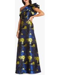 Adrianna Papell - Long Floral Jacquard Dress - Lyst