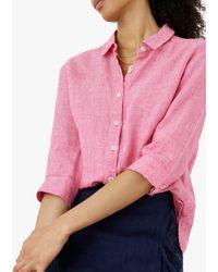 Brora Fine Houndstooth Linen Shirt - Pink