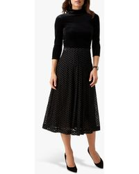Pure Collection Spotted Soft Pleat Skirt - Black