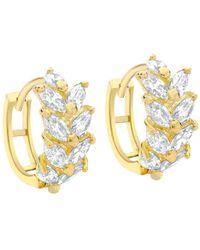 Ib&b - 9ct Yellow Gold Leaf Cluster Huggy Hoop Earrings - Lyst