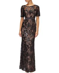 Adrianna Papell - Sequined Lace Long Dress - Lyst