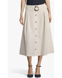 Betty & Co. Belted Midi Skirt - Natural