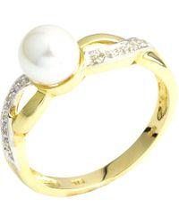 John Lewis - A B Davis 9ct Gold Double Twist Diamond And Pearl Ring - Lyst