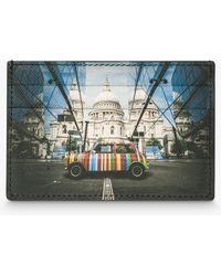Paul Smith Ps Mini Print Leather Card Holder - Black