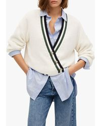 Mango Stripe Trim Cable Knit Cardigan - Blue