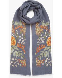 Modern Rarity Wool And Silk Bloom Embroidery Scarf - Blue