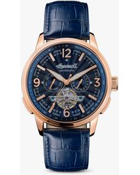 Ingersoll 1892 The Regent Automatic Tachymeter Heartbeat Leather Strap Watch - Blue