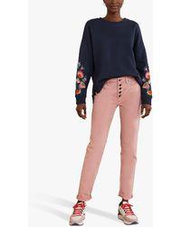 Boden Jasmine Floral Embroidered Sweatshirt - Blue