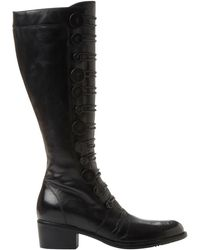 d0692129bc4c7 Dune Stetson Block Heeled Fringe Detail Knee Boots in Black - Lyst