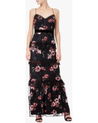 Adrianna Papell - Tiered Floral Print Tulle Dress - Lyst