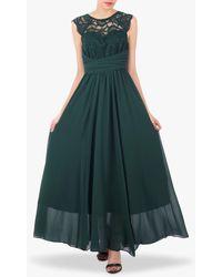 Jolie Moi Cap Sleeve Flared Maxi Dress - Green