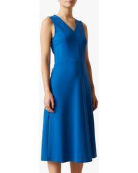 Jigsaw V-neck Ponte Jersey Midi Dress - Blue