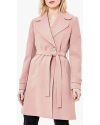 Oasis Scallop Trim Wrap Coat - Pink