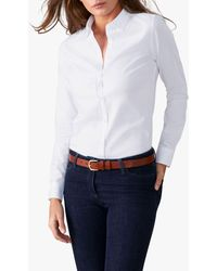 Pure Collection Jewelled Collar Cotton Shirt - White