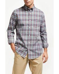 GANT - Winter Twill Melange Plaid Shirt - Lyst