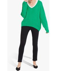 Nrby Millie Chunky V-neck Knit Jumper - Green