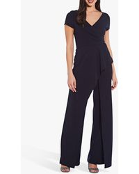 Adrianna Papell Crepe Cascade Jumpsuit - Blue
