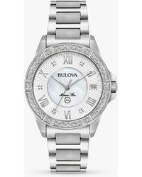 Bulova Marine Star Diamond Date Bracelet Strap Watch - Metallic