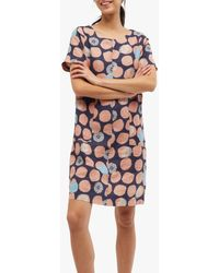 White Stuff Bea Floral And Circle Print Linen Dress - Multicolour