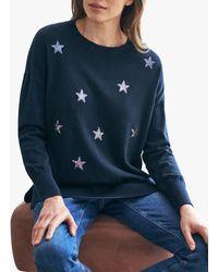 Pure Collection Split Hem Sequin Star Wool Blend Jumper - Blue