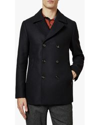 Ted Baker Westun Double Breasted Wool Pea Coat - Blue