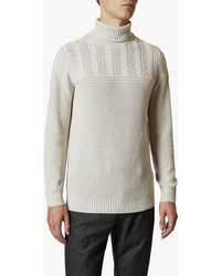 Ted Baker Rolly Chunky Cable Knit Roll Neck Jumper - Natural