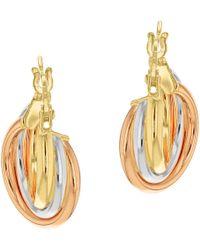 John Lewis - Ibb 9ct Gold Three Colour Hoop Earrings - Lyst