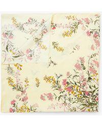 Modern Rarity Meadow Floral Square Silk Scarf - Multicolour
