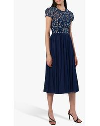 French Connection Diya Lace Embellished Floral Dress - Blue