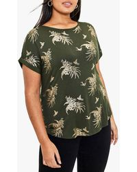 Oasis Curve Tropical Foil Boat Neck Tee - Green
