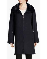 Betty Barclay Faux Fur Collar Coat - Blue