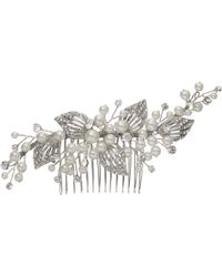 Ivory & Co. Constellation Faux Pearl And Cubic Zirconia Pave Leaf Hair Comb - Metallic