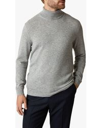 Jaeger Cashmere Exposed Racking Detail Roll Neck Jumper - Grey