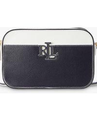 Ralph Lauren Lauren Carrie 24 Leather Cross Body Bag - Blue