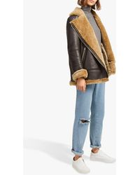 French Connection Night Toscana Shearling Jacket - Brown