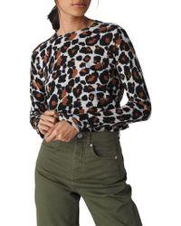 Whistles - Leopard Print Crew Neck Jumper - Lyst