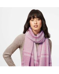 Brora Cashmere Houndstooth Check Stole Scarf - Pink