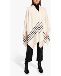 Jigsaw Stripe Wool Cotton Cape - Natural