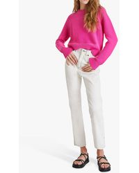 French Connection Lillie Crew Neck Cotton Jumper - Pink