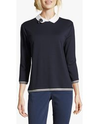 Betty Barclay Jersey Top With Brooch - Blue