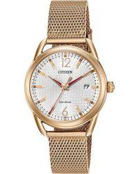Citizen - Women's Ltr Date Mesh Bracelet Strap Watch - Lyst