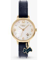 Radley Dog Charm Leather Strap Date Watch - Blue