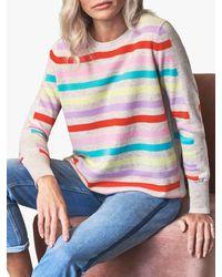 Pure Collection Boyfriend Fit Striped Cashmere Jumper - Multicolour