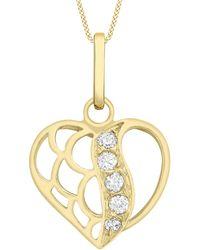 Ib&b - 9ct Gold Cubic Zirconia Open Heart Pendant - Lyst