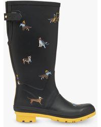 Joules Dog Print Wellington Boots - Black