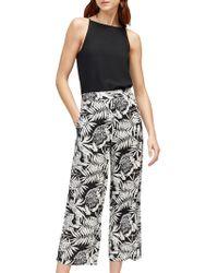 Warehouse Sahara Print Culottes - Black